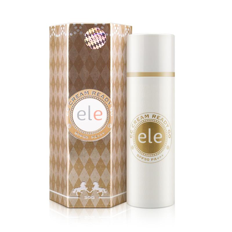 泰国ELE防晒遮瑕隔离霜50g 裸妆打底美白提亮肤色素颜变色CC霜^